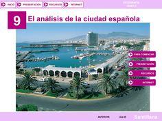INICIO 9 PRESENTACIÓN RECURSOS GEOGRAFÍA TEMA 9 INTERNET El análisis de la ciudad española PARA COMENZAR PRESENTACIÓN RECURSOS INTERNET ANTERIOR SALIR Santilla…