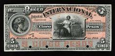 Colombia 5 Pesos banknote issued by the El Banco Internacional of 1884