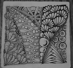Zentangle made up of official tangle patterns by and CZT (Certified Zentangle Teacher), namely Iamthediva.