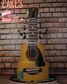 A super cool acoustic guitar cake I made for this weekend! Happy Birthday Aidan! #happybirthday #cake #CakesByKristi #acoustic #acousticguitar #guitar #cakeart