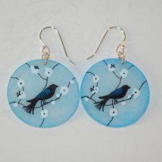 Hand-Drawn Blue Bird Shrink Art Earrings - SWEET - Handmade in the Pacific Northwest