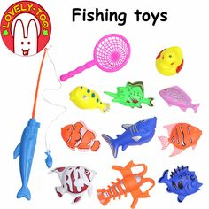 Lovely Too 12PCS Children's Magnetic Fishing Toy Plastic Fish With Rod And Net Outdoor Indoor Fun Game Baby Bath Toys