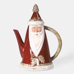 Red Oak Santa Teapot ... Father Christmas conical teapot, with gold pine cone knob, c. 2005, ceramic
