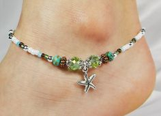 Anklet Ankle Bracelet, Starfish Charm, Light Seafoam Green Crystals, Semi Precious Turquoise Blue Donuts, Copper, Sea Ocean Beach Sand Shell
