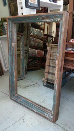 Cornice con specchio in legno massello 125x90 cm