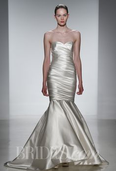 """Brides.com: Kenneth Pool - Spring 2014. """"Antonia"""" stretch duchess satin fit to flare rouched wedding dress with sweetheart neckline, Kenneth Pool"""