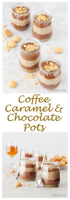 Triple Layer Coffee Caramel Chocolate Pots blends creamy coffee custard with luscious caramel, light chocolate mousse & crushed Amaretti. Irresistible.