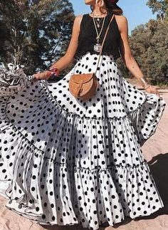 Polka-dot Split-joint Bohemia Skirt Bottoms – Besiefy Source by vovodealstyle party Maxi Skirt Boho, Floral Maxi Dress, Flowy Dresses, Polka Dot Maxi Dresses, Boho Dress, Pleated Skirt, Dress Skirt, Short Beach Dresses, Summer Dresses