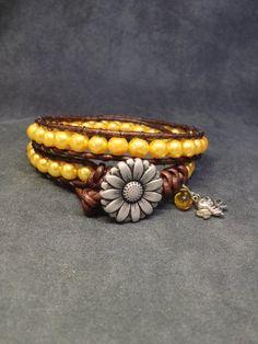 Gold Beaded Leather Bracelet, Daisy Button, Honey Bee Charm, Golden Bracelet, Summer Wrap Bracelet, Boho Beaded Bracelet. Easter Gift by KarenMSmithDesigns on Etsy
