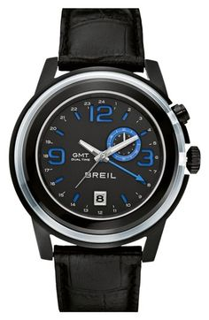 Men's Breil 'Orchestra' Round Leather Strap Watch