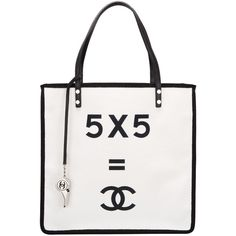 "Pre-Owned Chanel """"5 x 5 = CC"""" Small Shopping Tote (8.330 BRL) ❤ liked on Polyvore featuring bags, handbags, tote bags, chanel, bolsas, purses, accessories, white, canvas tote and white handbag"