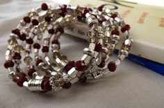 memory wire bracelet red cream crystals silver by pebblesnglass, $15.00
