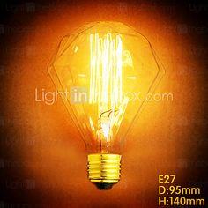 e27 40w diamante g95 alambre recto bulbo edison grande lo lámpara barra colgante con una fuente de luz retro - EUR €8.81