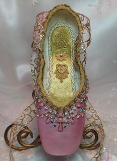Pink and gold decorated pointe shoe with door DesignsEnPointe