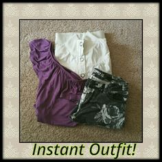 3-Piece Outfit Bundle Have this look, buy the complete outfit in this bundle and save! Black rose print skinny jeans size 7; purple one-shoulder top size small; crop jacket size medium.  See individual listings for the item particulars. various Other
