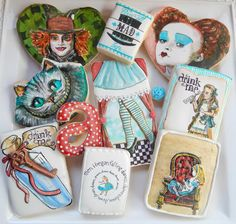 Alice in Wonderland Cookies    By Kim-Sugar Rush Custom Cookies   http://www.facebook.com/Sugarrushcustomcookies   http://cookieconnection.juliausher.com/profile/328650445007823850?nc=1