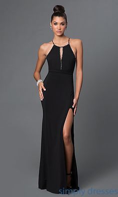 Shop long black dresses with beaded front keyholes and back bows at Simply Dresses. Floor-length black prom dresses with side slits for formal dances.