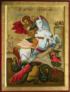 Items similar to St George Icon Orthodox Ceramic Icon St George Sublimated Religious Home Art Dragon Slayer on Etsy George & Dragon, Saint George And The Dragon, Byzantine Art, Byzantine Icons, Religious Icons, Religious Art, Patron Saint Of England, Greek Icons, Year Of The Dragon