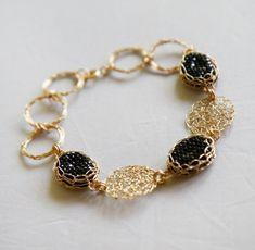 Black crystal bracelet  Black gold wedding jewelry Woman Elegant BraceletGold delicate Bracelet Handmade Statement Bracelet by ELITALSHOP from Ecommmax. Find it now at http://ift.tt/2cdkikp!
