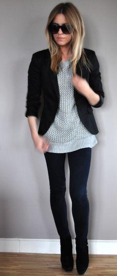 grey sweater & blazer pluuuuus i love her hair
