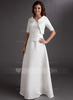 A-Line/Princess V-neck Floor-Length Satin Mother of the Bride Dress With Ruffle (008006062) - JJsHouse