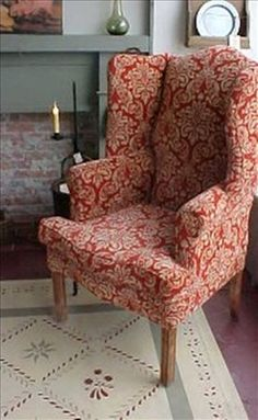 What a beautiful pair! The chair and the rug, I mean. But who would brick up their fireplace? Colonial Furniture, Primitive Furniture, Primitive Bedroom, Primitive Homes, Primitive Antiques, Primitive Country, Prim Decor, Country Decor, Farmhouse Decor
