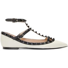 Valentino Black and White Rockstud Cage Flats (€725) ❤ liked on Polyvore featuring shoes, flats, ankle strap flats, valentino flats, ankle strap shoes, pointy toe flats and leather pointy toe flats