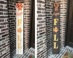 Autumn Orange Fixer Upper Farmhouse barn Wood Style Fall Welcome Sign for Front Porch Made with Real Rustic Reclaimed Wood 5 feet Tall