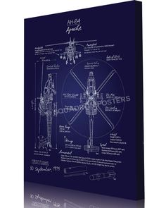 Share Squadron Posters for a 10% off coupon! AH-64 Apache Blueprint Art…