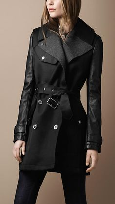 Burberry Brit Mid-Length Leather Sleeve Utility Trench Coat