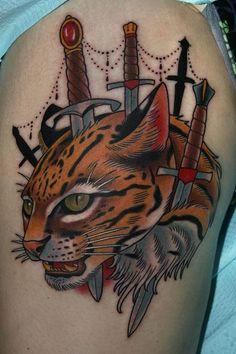 Ocelot tattoo, by Stefan Johnsson from California Electric Tattoo Parlour in Santa Cruz, Ca.
