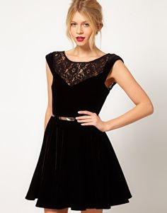 Velvet Skater Dress with Lace inserts perfect for Christmas !!