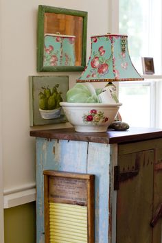 In this gorgeous home, you basically can't look in any nook or cranny without finding something interesting. This vintage washboard, for example, hung on the side of a rustic cabinet, is one of our favorite hidden gems.