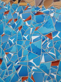 Detail view of Apple Store tile mosaic in Barcelona using colors from the Safari iOS app icon