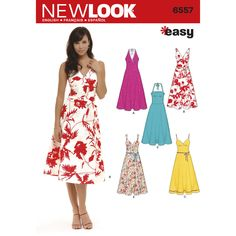 Misses' dresses with strap and halter variations and tie belt. New Look sewing pattern.