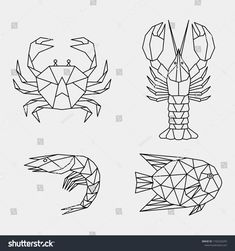 Set of abstract black polygonal se… – Tattoo Pattern Geometric Tattoo Design, Geometric Drawing, Geometric Art, Geometric Sleeve, Lobster Tattoo, Lobster Art, Fish Design, Design Art, Krebs Tattoo