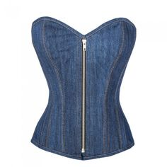 CorsetAttire Dazzling Blue Denim Zip Front Overbust Corset Top ($200) ❤ liked on Polyvore featuring tops, denim corset, corsette tops, blue corset, corset tops and zipper front top