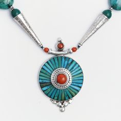 Colier statement mandala Bhaktapur, argint, coral, turcoaz tibetan, Nepal  #metaphora #silverjewelry #silverjewellery #nepal #necklace #turquoise #coral #mandala #statementnecklace Nepal, Tibetan Jewelry, Turquoise Necklace, Mandala, Fashion Jewelry, Necklaces, Jewellery, Silver, Jewels