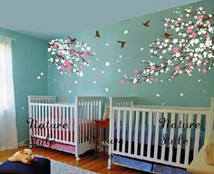 cherry blossom Floral with Flying Birds -cherry blossom wall decal,bedroom wall decal tree wall sticker baby nursery room wall decal flower Wall Decals For Bedroom, Kids Wall Decals, Sticker Mural, Nursery Room, Girl Nursery, Baby Room, Cherry Blossom Nursery, Wall Stickers Baby Girl, Tree Wall