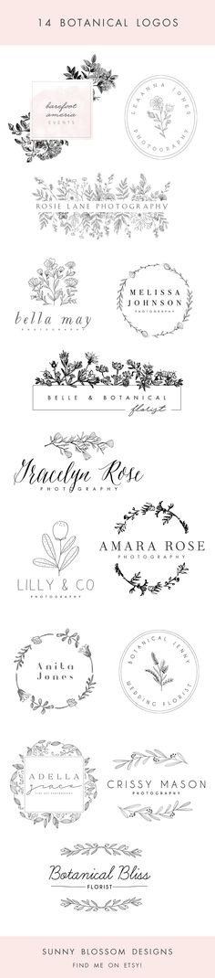 Logo design, botanical flowers, herbs, hand sketched flowers, photography logo, event planner logo, watercolor flower, florist logo, Design & Templates  Graphic Design  Logos & Branding  flower logo  florist logo logo design  logo template  floral logo  photography logo  photography template  vintage flowers  botanical hand sketched  vintage flower logo  event planner  wedding planner