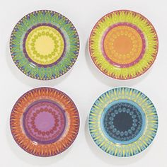 Venetian Nico Plates, Set of 4.  Colorful and fun even empty.  I wonder how they would look with food on them.