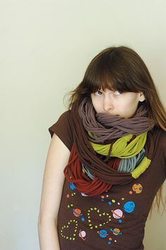 Infinity scarfs from old tee shirts