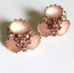 Pink vintage rhinestone clip earrings misty by snapconclusions