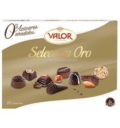 Bombones de selección ORO de Valor. Nuestras grandes creaciones con 0 azúcares añadidos. Un placer para los cinco sentidos.