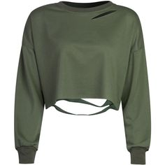 Military Green Ripped Drop Shoulder Cropped Sweatshirt (165 DKK) ❤ liked on Polyvore featuring tops, hoodies, sweatshirts, shirts, sweaters, crop top, cropped sweatshirt, ripped shirt, olive green shirt and olive green sweatshirt