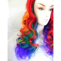 Cyber Monday Rainbow Wig Curly Long Hairstyle Rainbow Ombre Wigs for... (£76) ❤ liked on Polyvore featuring beauty products, haircare, hair styling tools, bath & beauty, grey, hair care and curly hair care