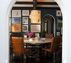 Nate Berkus- i kind of like the brown leather with dark grey walls
