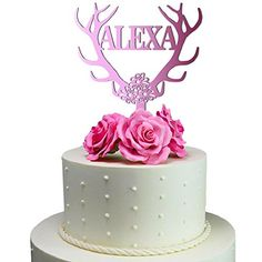 Sugar Yeti Made In USA Personalized Birthday Cake Topper Deer Antler 59 Pink Mirror -- Visit the affiliate link Amazon.com on image for more details.