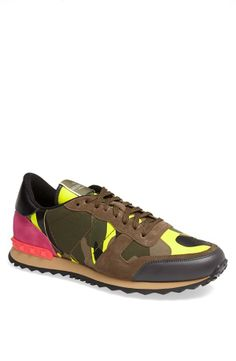 We love the pop of pink! Valentino Camouflage Sneaker