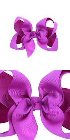 WuyiMC Baby Hair Bows For Girls Big Large Grosgrain Ribbon Boutique Bows Alligator Clips For Teens Babies Toddlers Children Newborn Infant Kids Teens 14 Colors (Purple)